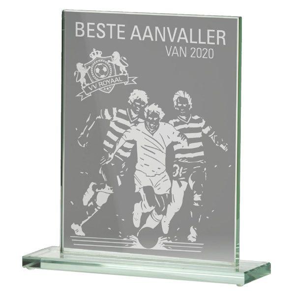 Glazen award standaard rechthoek gelaserd glas