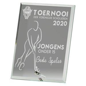Glazen award standaard rechthoek met pinnetje als stand