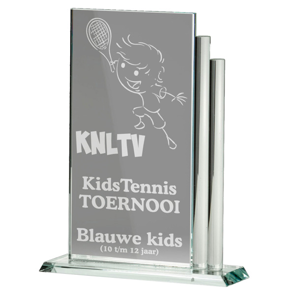 Glazen award standaard rechthoek met sierlijke detail