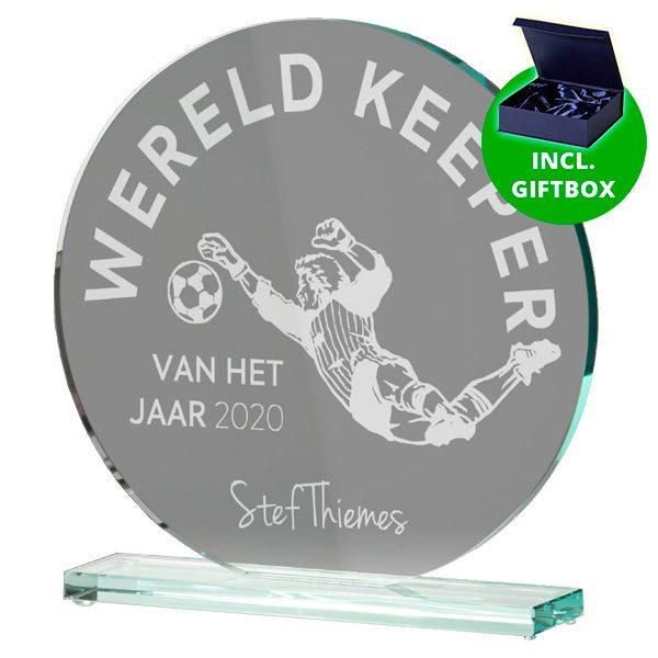 Glazen award standaard rond gelaserd glas