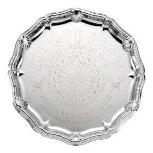Extra grote zilveren kampioensschaal met detailrand v2