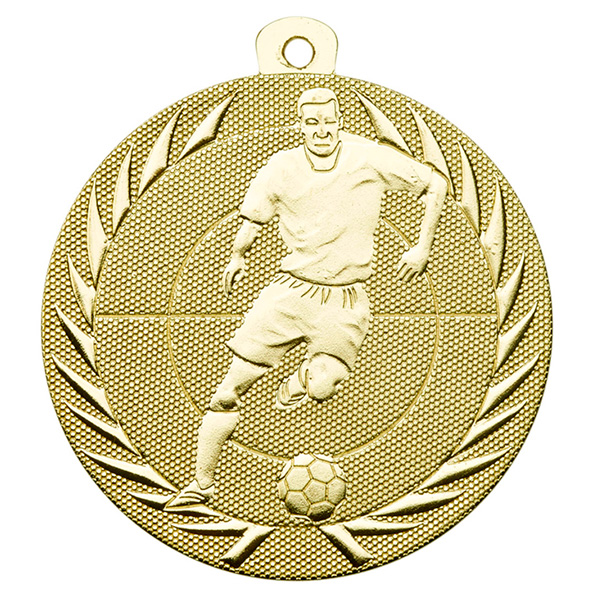 Goedkope voetbal medaille met voetballer goud