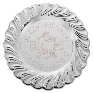 Grote zilveren kampioensschaal met sierrand