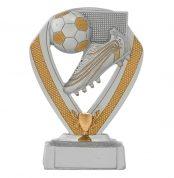 Voetbal beeldje met voetbalschoen detail goud-zilver