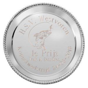 Zilveren Kampioensschaal met gedetailleerde rand