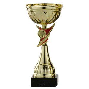 Gouden trofee met rode details als accenten