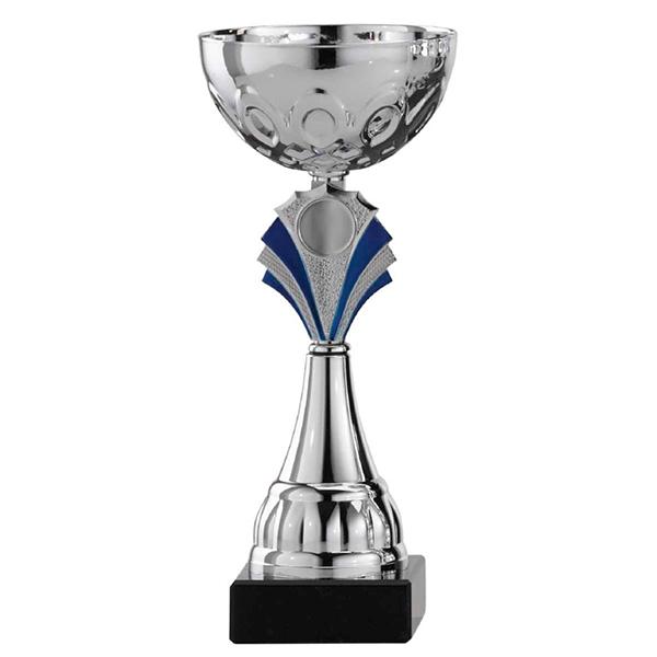 Zilveren trofee met blauwe kleur waaiers