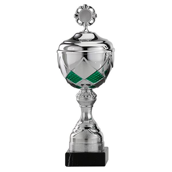 Zilveren trofee met groene vierkantjes als details