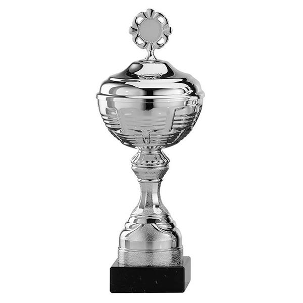 Zilveren trofee met horizontale lijntjes als details