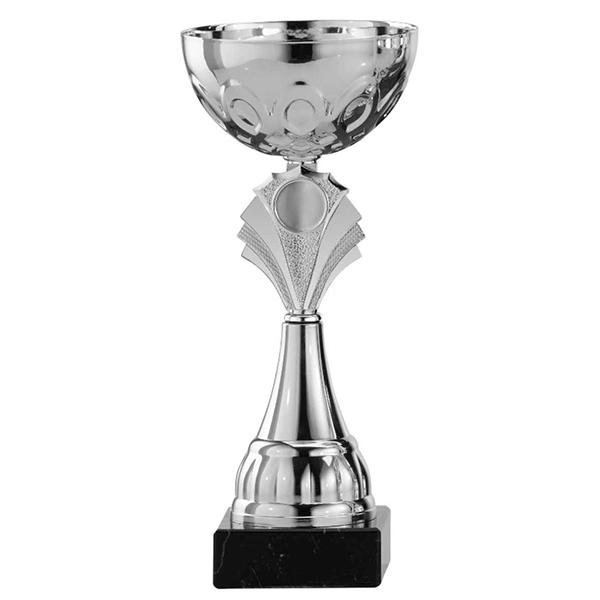 Zilveren trofee met zilveren waaier als detail
