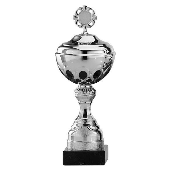 Zilveren trofee met zwarte rondjes als details