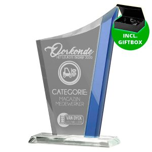 Glazen award standaard met blauwe detail