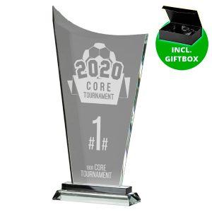 Glazen award standaard met sierlijke voet