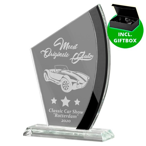 Glazen award standaard met zwarte detail
