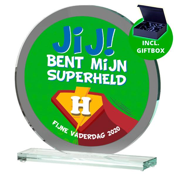 Glazen award standaard rond gelaserd glas full color