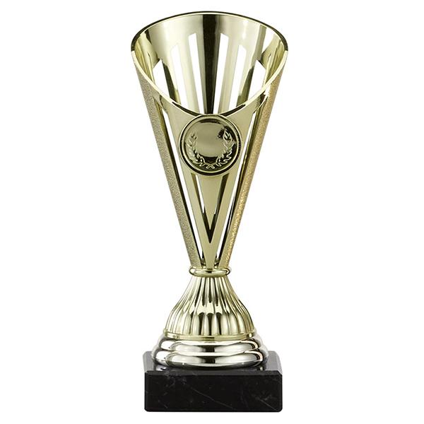 Gouden, zilveren of bronzen trofee met open details goud