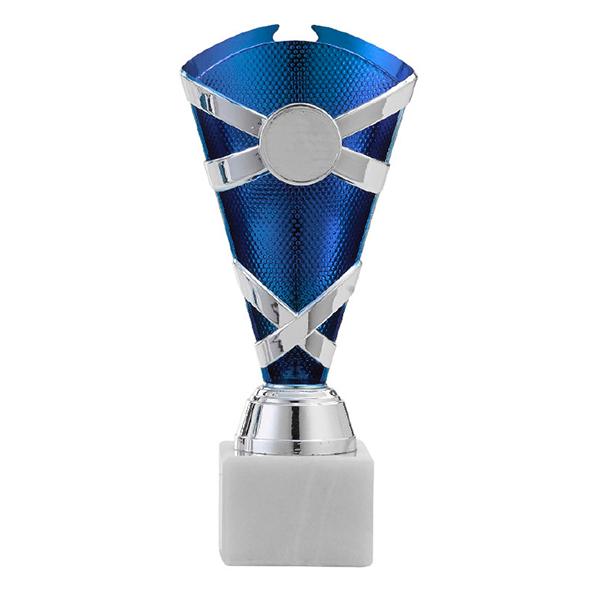 Zilveren trofee met donkerblauwe binnenkant