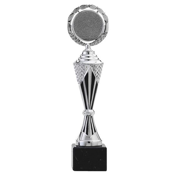 Zilveren trofee met zwarte details als middenstuk