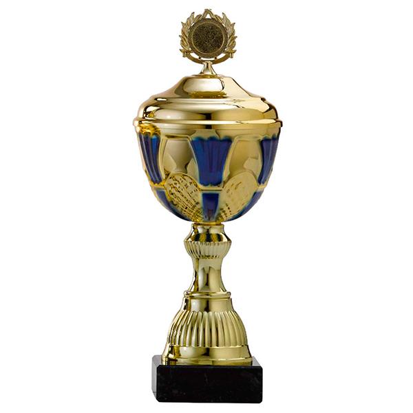 Gouden trofee met blauwe details in het bovenstuk