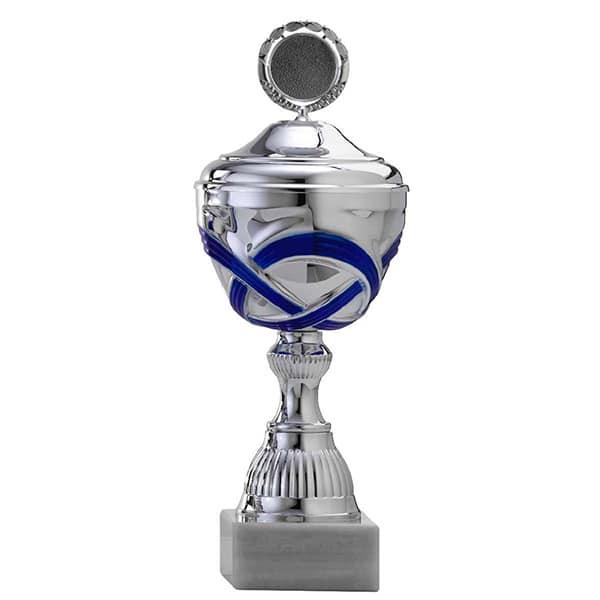 Zilveren trofee met blauwe lijntjes als accenten