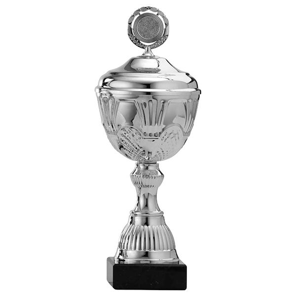 Zilveren trofee met details in het boven en onderstuk