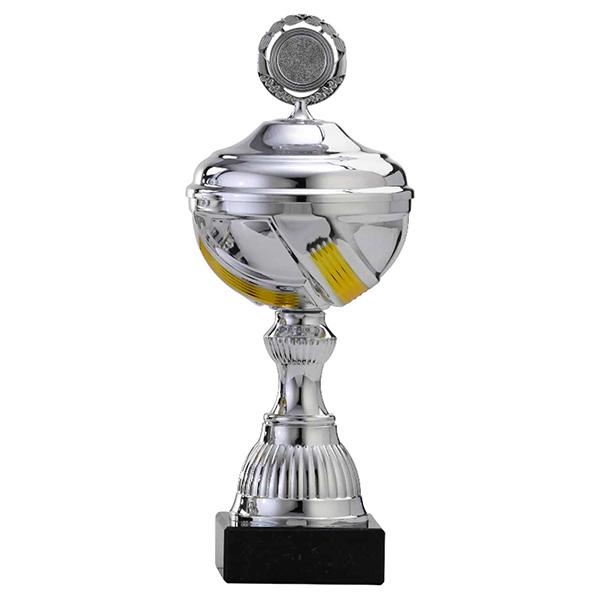 Zilveren trofee met gele accenten