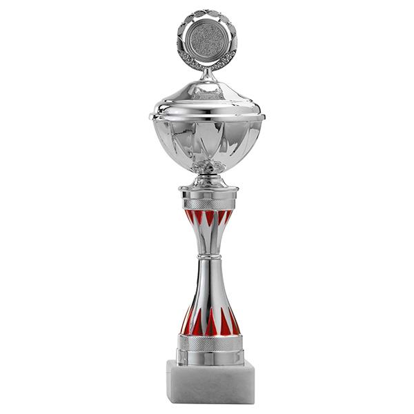 Zilveren trofee met rode tandjes als detailles