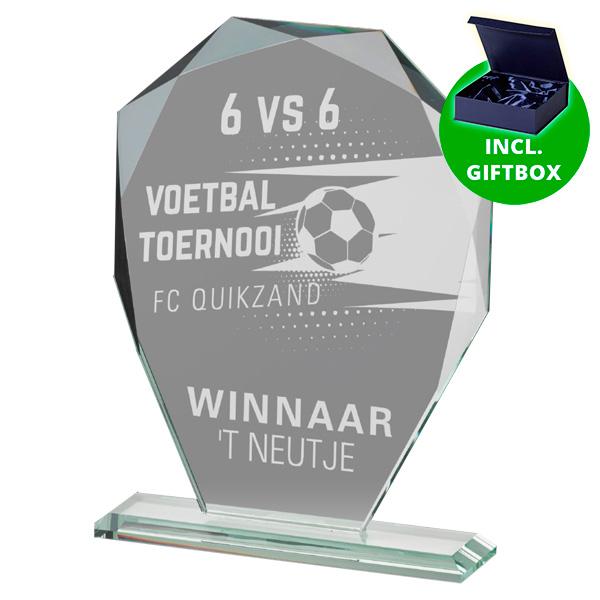 Glazen award standaard met prachtige detail