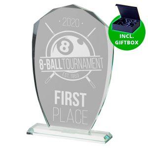Glazen award standaard met sierlijke detail en voet