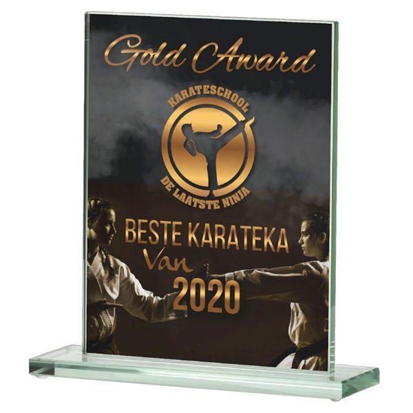 Glazen award standaard rechthoek met sierlijke voet