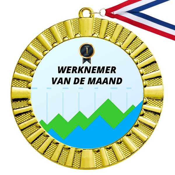 Werknemer van de maand gouden medaillemer van de maand medaille goud