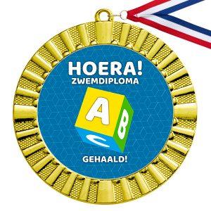 Zwemdiploma A cadeau medaille goud