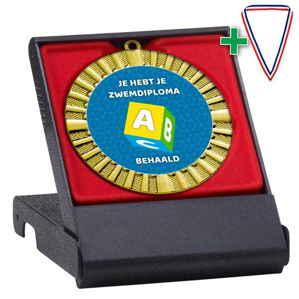 Zwemdiploma A medaille in geschenkdoosje rood