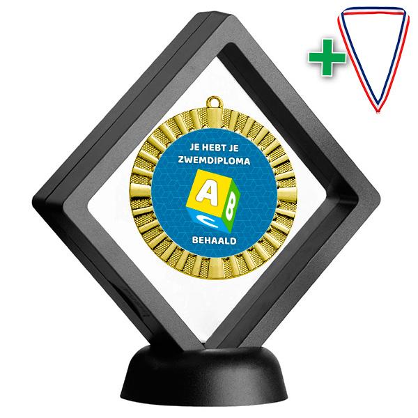Zwemdiploma A medaille in geschenkdoosje staand