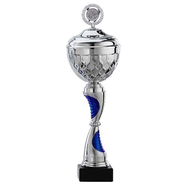 Grote zilveren trofee met blauwe details