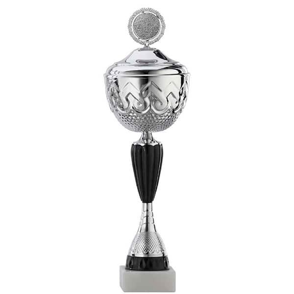 Grote zilveren trofee met zwarte detail