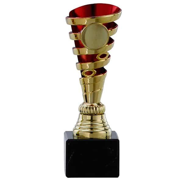 Kleine gouden trofee met rode detail