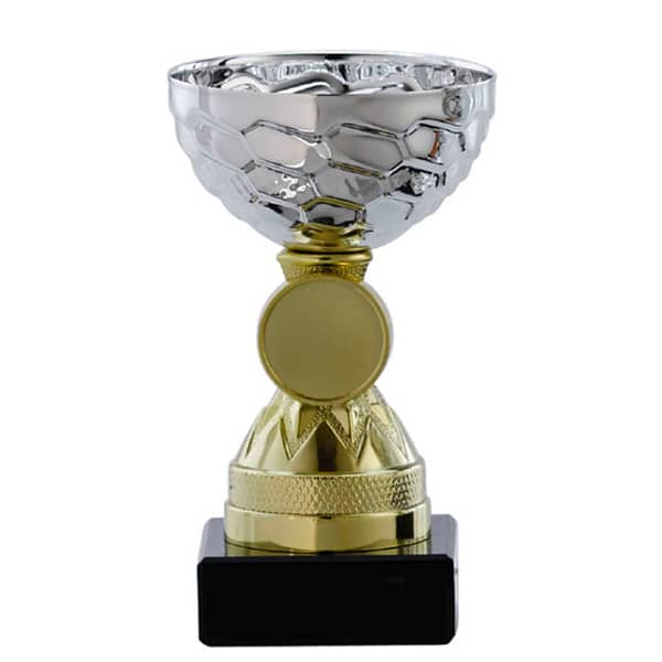 Kleine trofee met open deksel goud