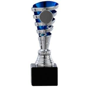Kleine zilveren trofee met blauwe detail