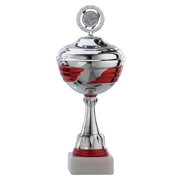 Zilveren beker met rode details in het midden en onderstuk