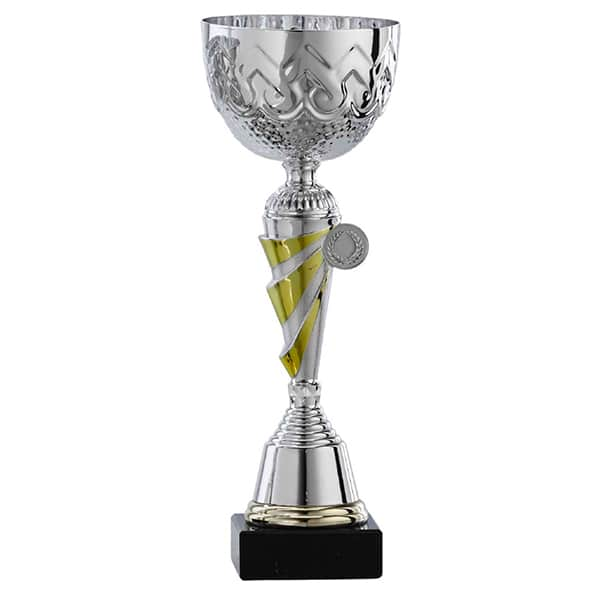 Zilveren trofee met gele detail en open deksel