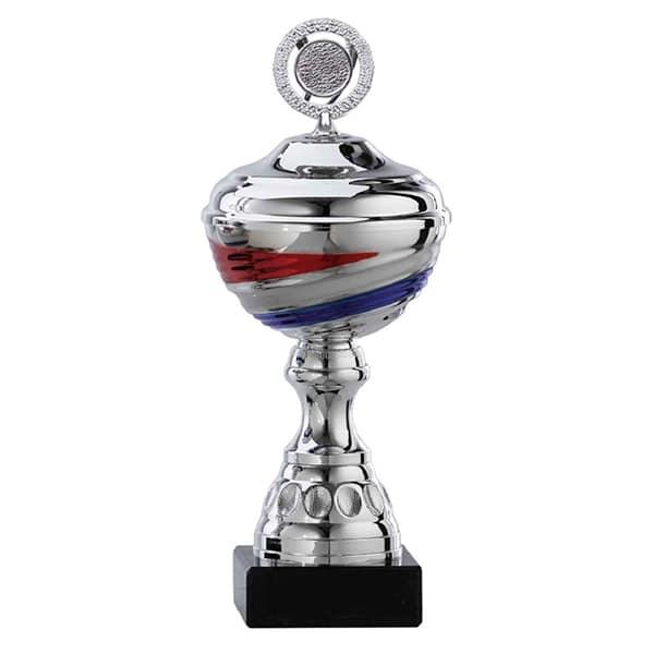 Zilveren trofee met rood-wit-blauw detail