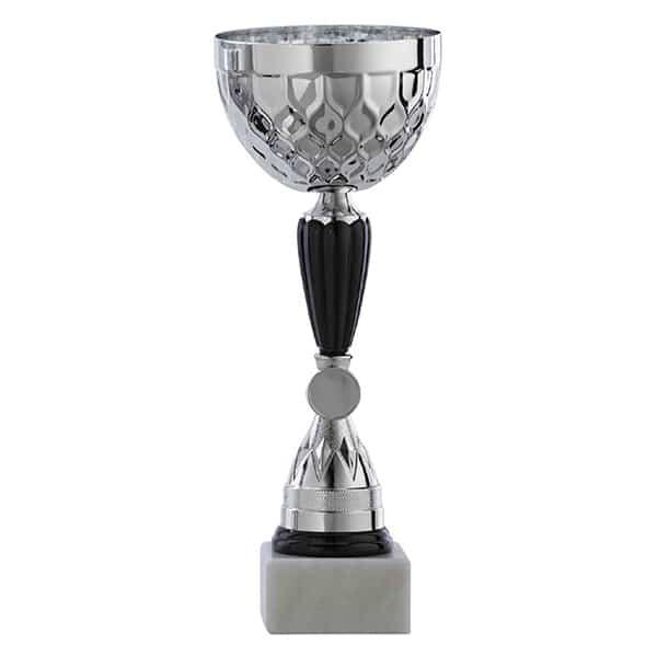 Zilveren trofee met zwarte accenten en open deksel